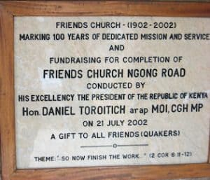 Plaque acknowledging former President, Daniel arap Moi's contribution to the Friends Church in Nairobi, Photo: Susan Addison