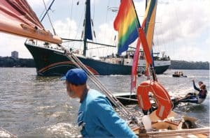 Boats and peace: Jan in the Duyfken with the Peace Squadron.